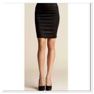 Bebe satin career black pencil skirt with slit